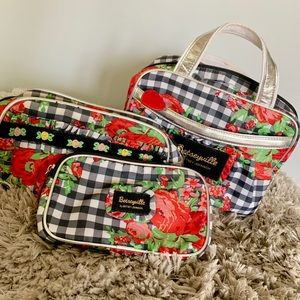 Betsey Johnson cosmetic case trio